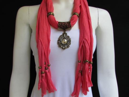 Other Women Pink Fashion Soft Scarf Long Necklace Big Silver Center Bead Pendant