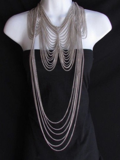 Preload https://item5.tradesy.com/images/women-long-silver-two-fashion-elegant-earring-set-thin-links-necklace-1929534-0-0.jpg?width=440&height=440