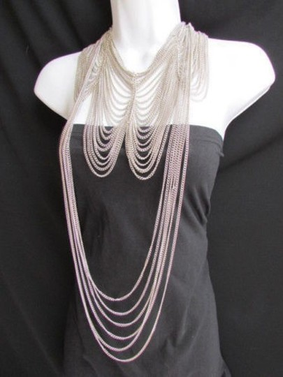 Other Women Long Silver Two Fashion Elegant Necklaces Earring Set Thin Links