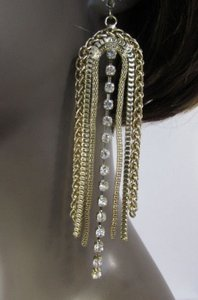 Women Long Gold Metal Chains Dangle Big Fashion Earrings Set Hook Rhinestone
