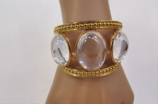 Other Women Gold Metal Fashion Cuff Bracelet Jewelry Big Clear Oval Beads One
