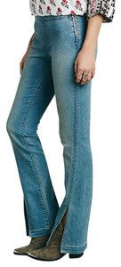 Free People Slit Low Rise Flare Leg Jeans-Medium Wash