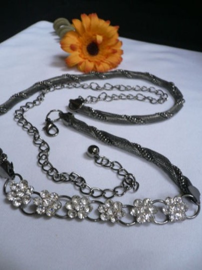 Other Women Hip Pewter Metal Chains Thin Fashion Belt Silver Flowers 32-44 M-xxl
