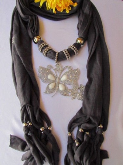 Other Women Soft Fabric Grey Fashion Scarf Long Necklace Huge Butterfly Pendant