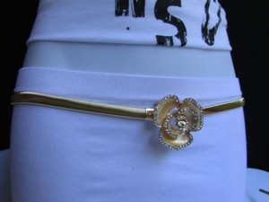 Other Women Thin Gold Metal Elastic Fashion Belt Flower Rhinestone 28-45 S-xxl