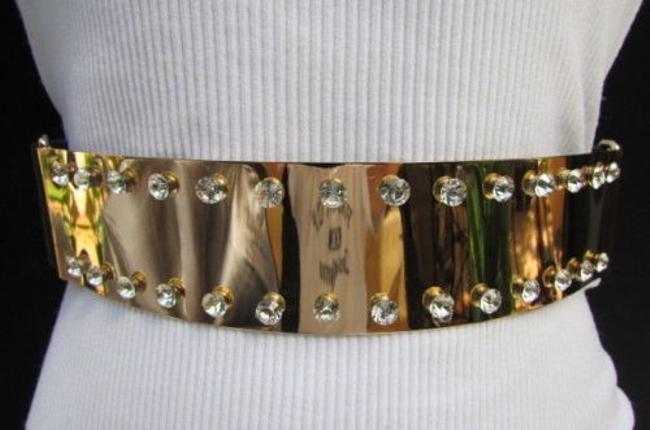 Alwaystyle4you Gold Women Fashion Metal Plate Big Rhinestones Belt Alwaystyle4you Gold Women Fashion Metal Plate Big Rhinestones Belt Image 1