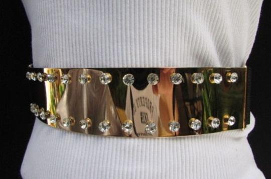 Other Women Fashion Gold Metal Plate Belt Big Rhinestones Fits Sizes 28-38