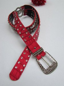 Women Red Faux Leather Western Fashion Belt Silver Rhinestones 30-36