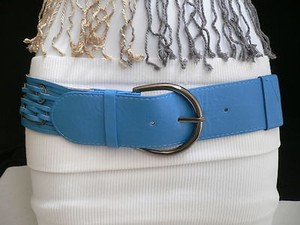 Other Women Elastic Pewter Buckle Waist Hip Summer Fashion Bright Blue Belt