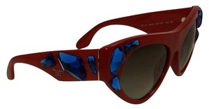 Prada Prada SPR21Q Red Cat Eye Sunglasses w / Blue Crystals Ltd Ed Voice