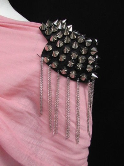 Other Women One Side Shoulder Pin Broach Silver Chains Mini Metal Spikes Gaga Jewelry