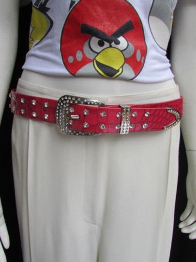 Other Women Red Faux Leather Western Belt Silver Rhinestones Metal Buckle
