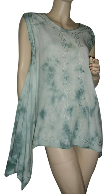 Preload https://img-static.tradesy.com/item/19295554/fashionista-green-bohemian-style-tie-dye-w-chain-embroidery-crochet-lace-high-low-blouse-size-os-one-0-1-650-650.jpg