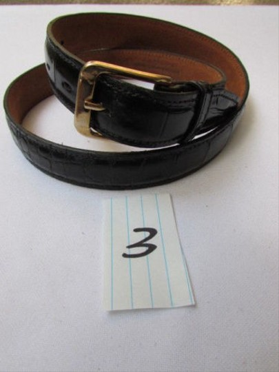 Other Women Black Leather Classic Thin Pants Fashion Belt Gold Buckle 27-31