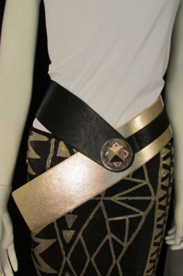 Other Women Black Gold Faux Leather Hip Waist Wide Fashion Belt Square Buckle