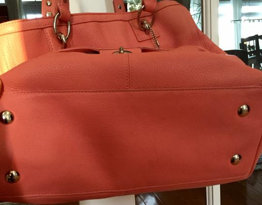 Coach Penelope Pebbled Leather Tote in coral