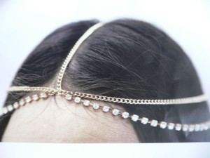 Women Gold Head Metal Chain Fashion Jewelry Grecian Long Two Rhinestones Strand