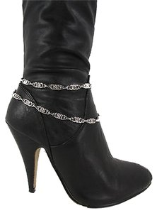 Other Women Fashion Boot Chain Bracelet 2 Strands Rope Strap Silver Metal Shoe Charms