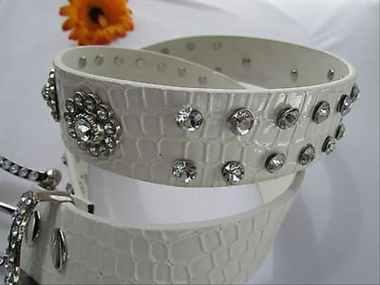 Other Women Faux Leather Western White Belt Flowers Silver Beads Buckle 28-33