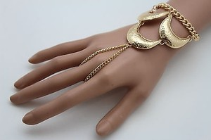 Women Gold Slave Long Ring Fashion Bracelet Metal Hand Chain Trendy Jewelry