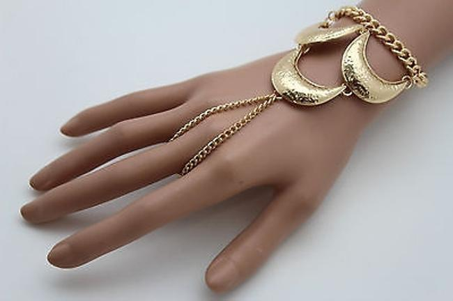 Alwaystyle4you Gold Women Slave Long Ring Hand Chain Bracelet Alwaystyle4you Gold Women Slave Long Ring Hand Chain Bracelet Image 1