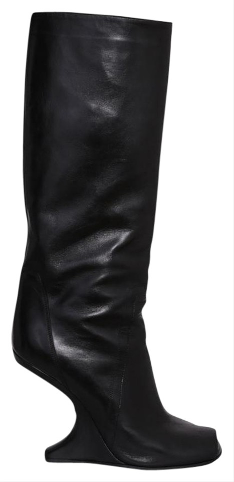 a0b4c1f768f8 Rick Owens Black Cyclops Cantilevered Open Boots Booties Size US 6.5 ...