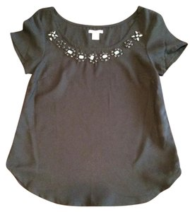 Bar III Jeweled Top Black