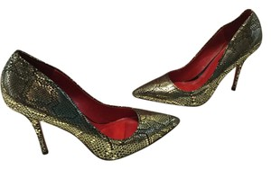 Charles Jourdan Snake Pattern Stilettos Padded Insoles Silver and black embossed leather Pumps