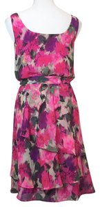 Maggy London short dress Pinks and purples Chiffon Floral Tiered on Tradesy