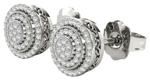 Elizabeth Jewelry 10Kt White Gold 0.23 Ct Diamond Halo Stud Earrings