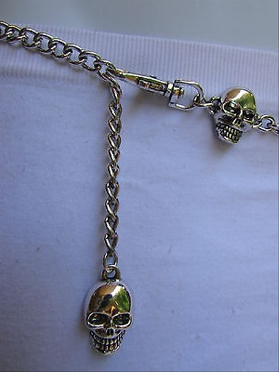 Other Women Hip Waist Silver Metal Chains Multi Skulls Fashion Belt 25-37 Xs S M