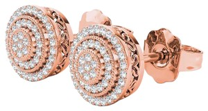 Elizabeth Jewelry 10Kt Rose Gold 0.23 Ct Diamond Halo Stud Earrings