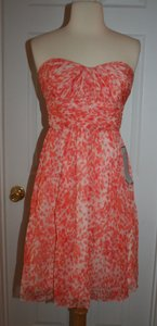 J.Crew Sweet Guava Marbella Strapless Dress In Watercolor Silk Chiffon Dress