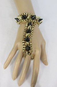 Women Gold Black Metal Links Hand Chain Spikes Slave Bracelet Wrist Ring