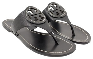 Tory Burch Leather Louisa Flats Black Sandals