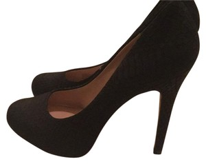 INC International Concepts Suede Snakeskin Stiletto Round Toe Black Pumps