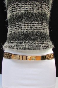 Other N. Women Fashion Gold Thin Metal Plate Belt Hip Waist Leopard Plus 31-45