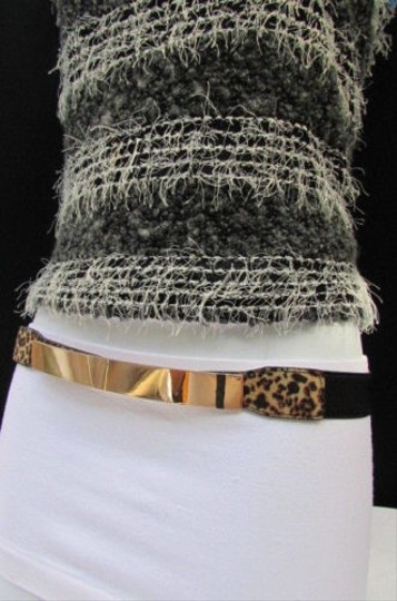 Other Women Fashion Gold Thin Metal Plate Belt Leopard Plus size