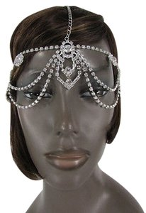 Women Silver Metal Head Band Chain Fashion Jewelry Side Floswers Rhinestones