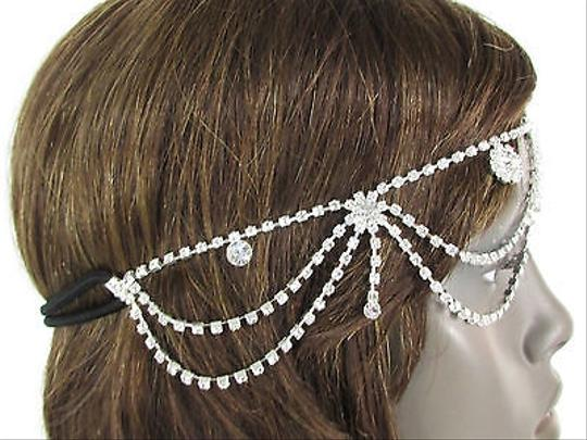 Other Women Silver Metal Head Band Chain Fashion Jewelry Side Floswers Rhinestones