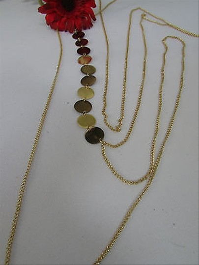 Other Women Gold Big Round Metal Circles Classic Body Chain Jewelry Long Necklace