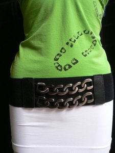 Other Women Casual Elastic Waist Hip Silver Metal Chians Black Belt 29-38 S-m-l