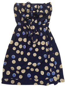 Banana Republic short dress Navy Blue with polka dot pattern Polk Ruffle Strapless on Tradesy