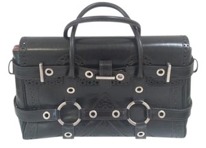 Luella Leather Contrast Silver Hardware Embossed Satchel in black
