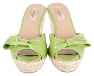 Valentino Patent Green Wedges