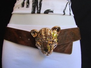 Women Elastic Brown Fashion Belt Big Gold Panther Head Buckle 27-38