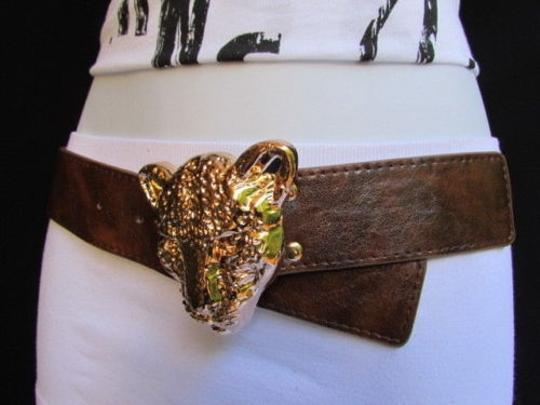 Other Women Elastic Brown Fashion Belt Big Gold Panther Head Buckle 27-38