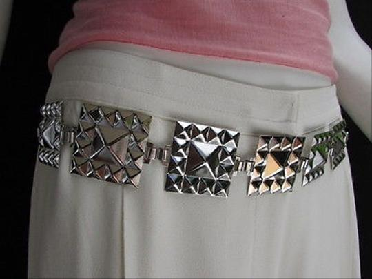 Other Trendy Women Metal Piramide Hip Waist Silver Chains Fashion Belt 30-44 M-l-xl