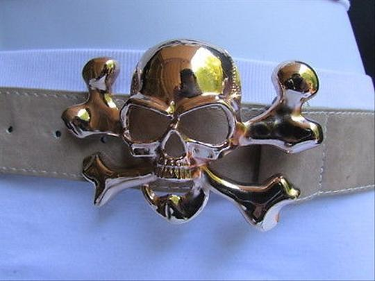 Other Women Elastic Beige Fashion Belt Big Gold Metal Skull Buckle 22-30 Xxs-m