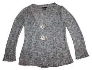 BCBGMAXAZRIA Wood Flower Marled Crochet Knit Cardigan